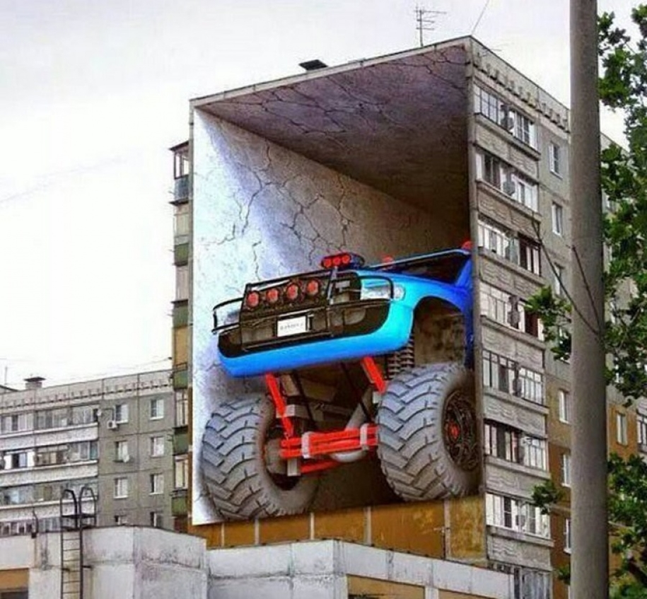 Three-dimensional street art from around the world, the reality of which affects 02