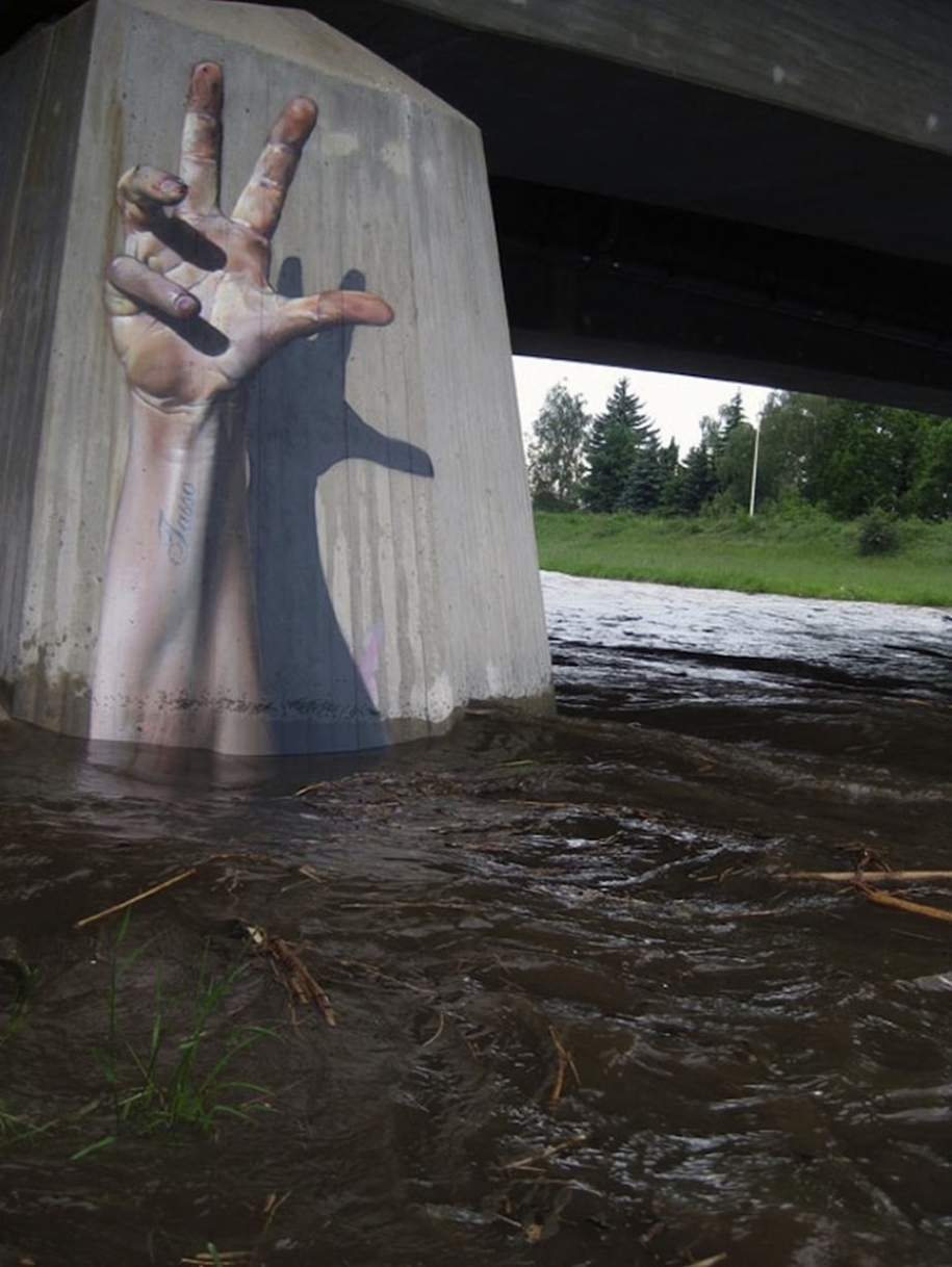 Three-dimensional street art from around the world, the reality of which affects 07