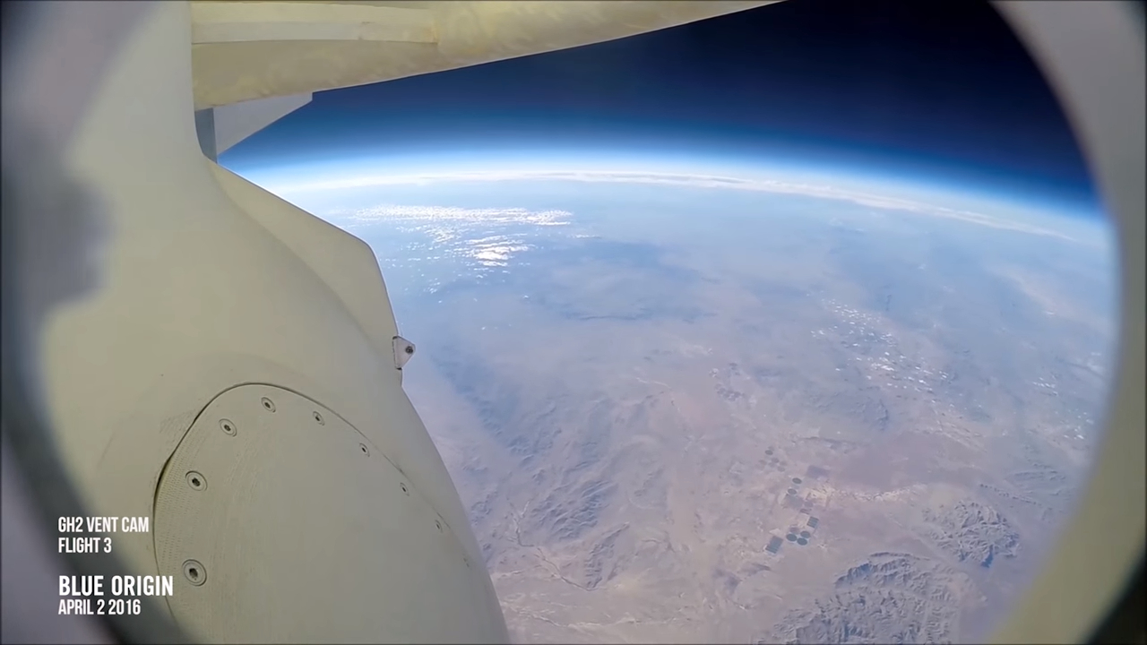 Video of descent of the spacecraft suborbital New Shepard, filmed from the ship