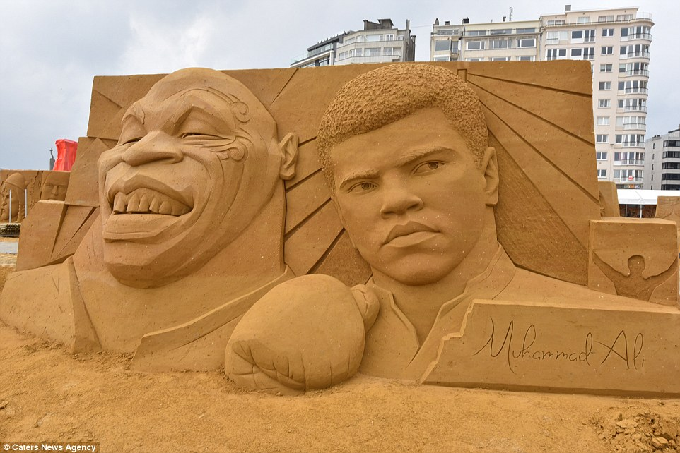 Sand sculptures of the stars of show business at the festival -Sand Sculpture Festival- in Ostend 01
