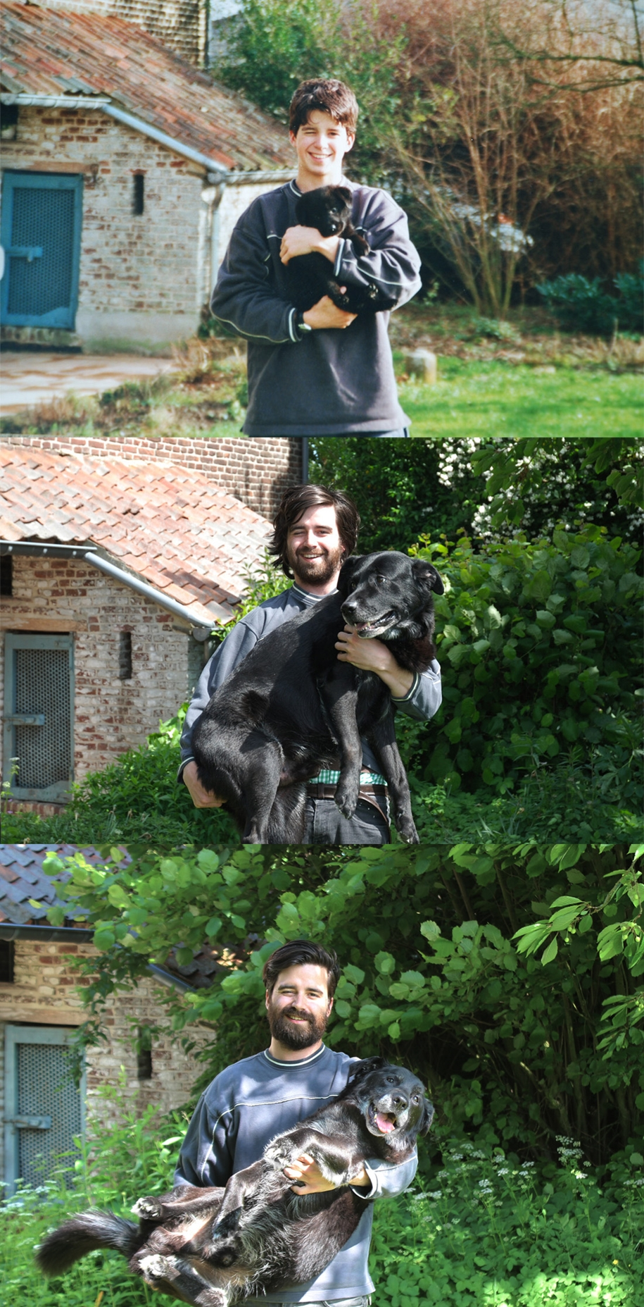 The guy recreated an old photo with his dog, and thereby parted with a friend