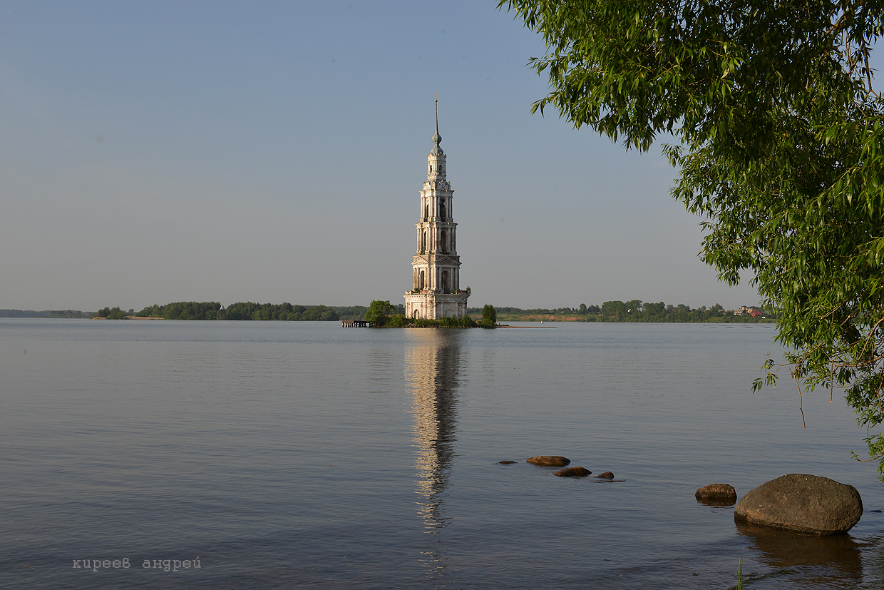 The flooded belfry is a symbol of the city Kalyazin 02