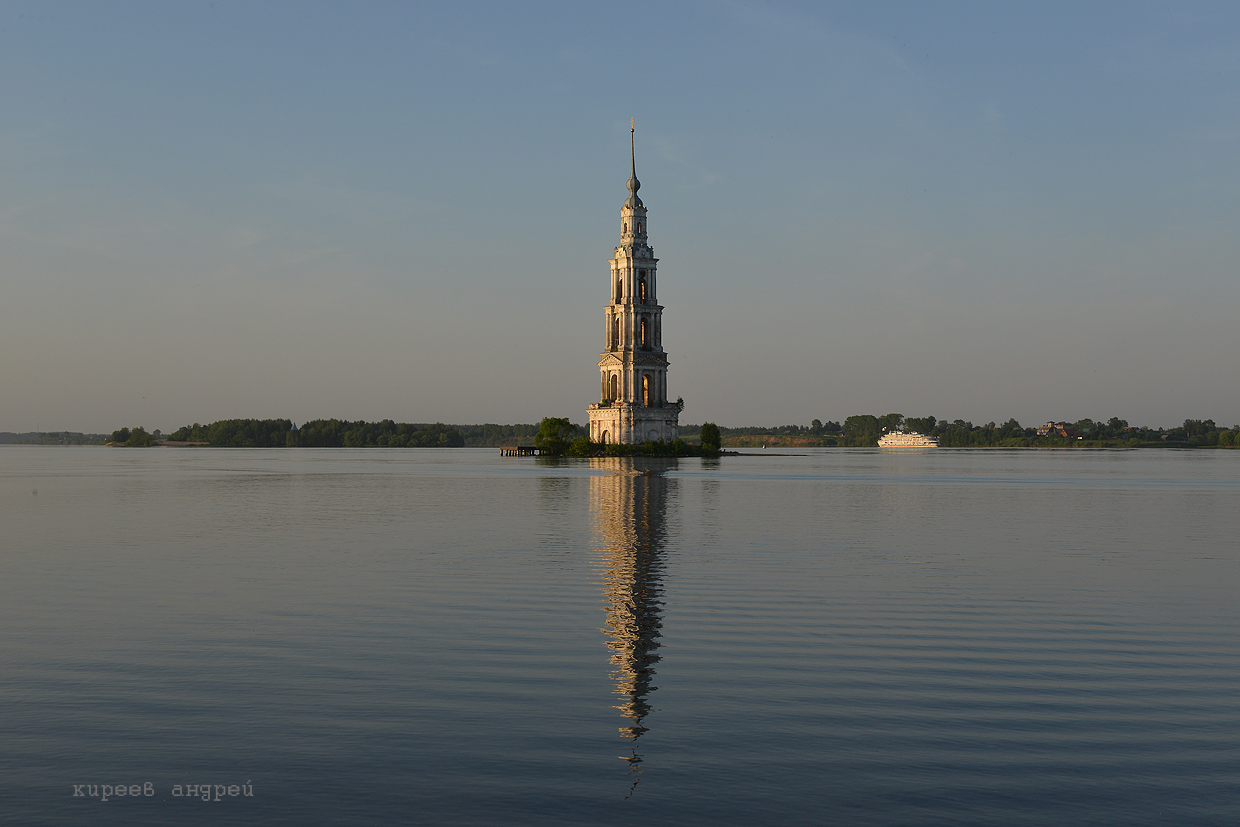 The flooded belfry is a symbol of the city Kalyazin 06
