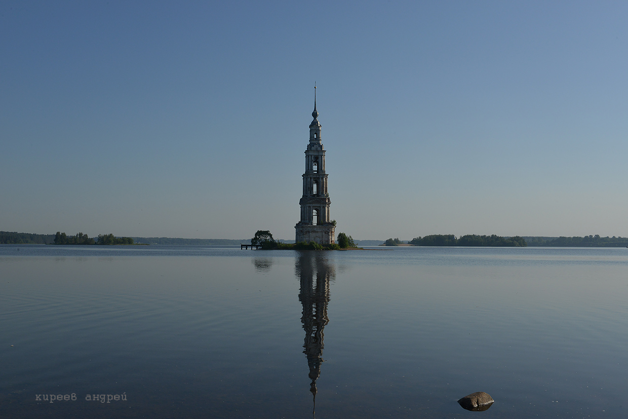 The flooded belfry is a symbol of the city Kalyazin 19