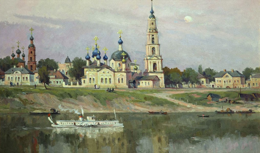 The flooded belfry is a symbol of the city Kalyazin 21