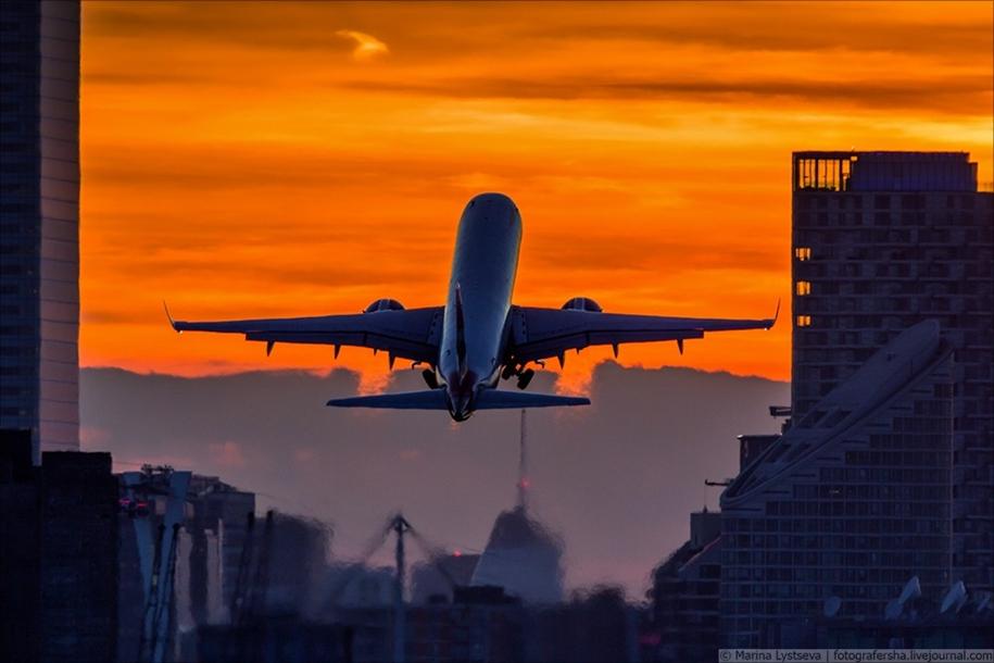 Самолеты на фоне закатов и рассветов