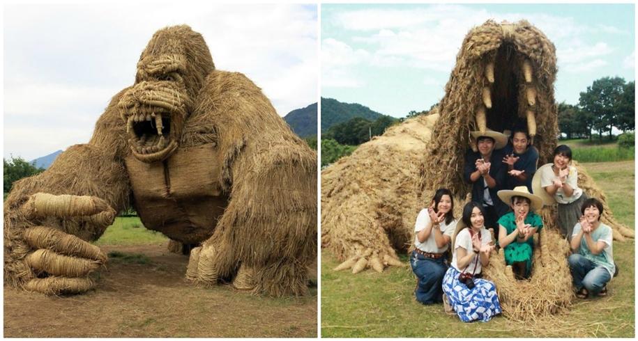 Огромные соломенные скульптуры на фестивале Wara Art в Японии